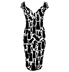Set of dresses silhouette seamless pattern vector image