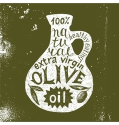 Silhouette of olive oil bottle with text design vector image vector image