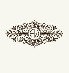 Stylish graceful monogram elegant line art logo vector