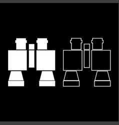 binocular pair of glasses icon set white color vector image