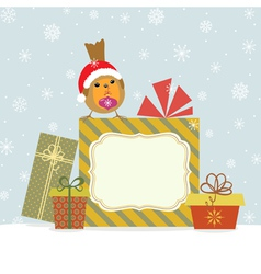 Christmas gifts and Robin vector image