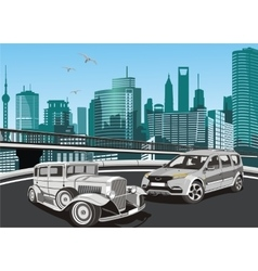 City landscape - vintage cars and modern car in vector image vector image
