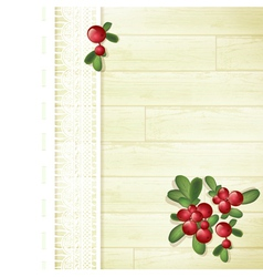 Cranberries at Wooden Background vector image vector image