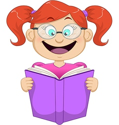 Girl With Glasses Reading From Book vector image