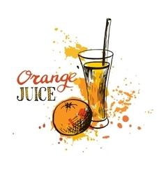 hand drawn orange juice in glass vector image