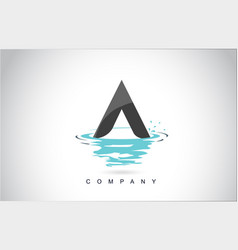 a letter logo design with water splash ripples vector image