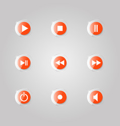 a set of glass buttons of a media player vector image