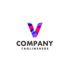 abstract colorful letter v logo design vector image