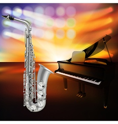 abstract jazz background with saxophone and grand vector image