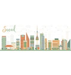 Abstract Seoul Skyline with Color Buildings vector