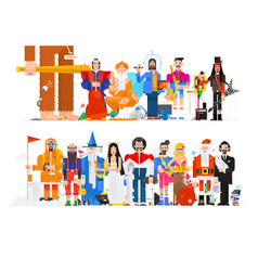amazing people in different professions flat vector image