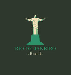 Banner with statue of christ the redeemer in rio vector