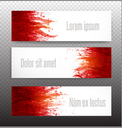 banners with red blood splashes on realistic paper vector image