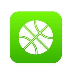 basketball ball icon digital green vector image