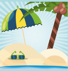 beach with sunglasses in the sand vector image