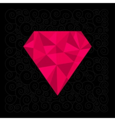 Big pink polygonal diamond on the black background vector