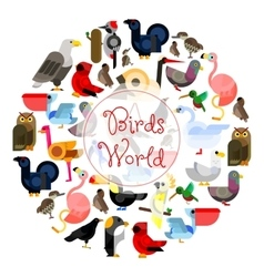Birds world zoo emblem Cartoon bird icons vector image