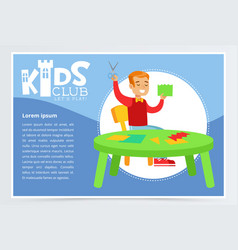 Blue poster for kids club with cheerful boy vector