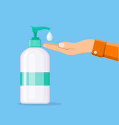 Bottle of liquid antibacterial soap vector