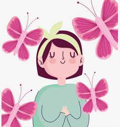breast cancer awareness month cartoon woman flying vector image