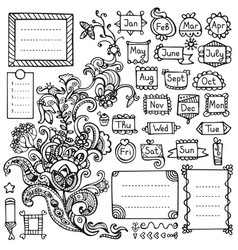 Bullet journal hand drawn elements for notebook vector