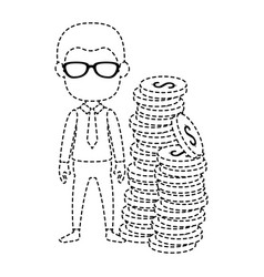 businessman with coins avatar character vector image