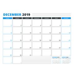 Calendar template for december 2019 business vector