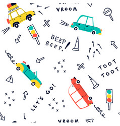 cars pattern seamless vector image