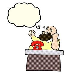 Cartoon arrogant boss man with thought bubble vector