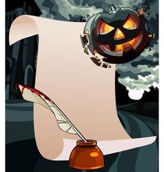 Cartoon blank card with a greeting on Halloween vector
