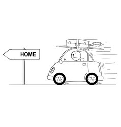 Cartoon of unhappy or angry man going back vector