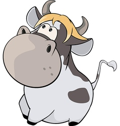 Cheerful cow cartoon vector
