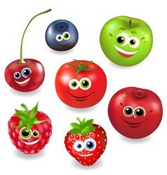 Collection cartoon fruit vector