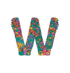 colorful ornamental alphabet letter w font vector image