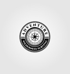 compass logo wilderness adventure survival emblem vector image