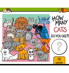Counting cats task for children vector