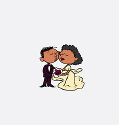 Couple of black newlyweds kissing isolated vector