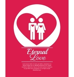 Couple over heart eternal love vector