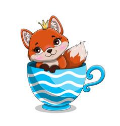 Cute adorable baby fox vector