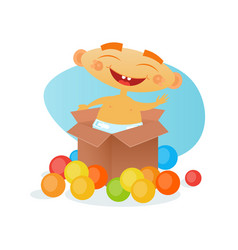 Cute baby boy cheerful toddler happy cartoon vector