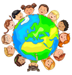 Cute kids different nationalities around planet vector