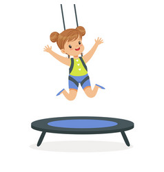 Cute little girl jumping on trampoline kid have a vector