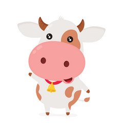 cute smiling happy funny little cow vector image