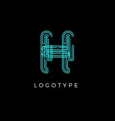Cyber letter h for digital technology logo concept vector