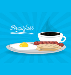 delicious breakfast dish menu restaurant vector image