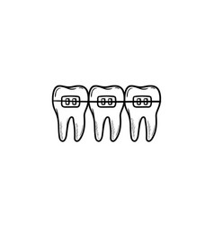 Dental braces hand drawn outline doodle icon vector