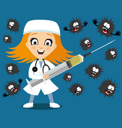 doctor with a syringe and viruses vector image