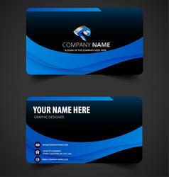 elegant blue business card vector image