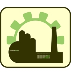 factory and gear outline vector image