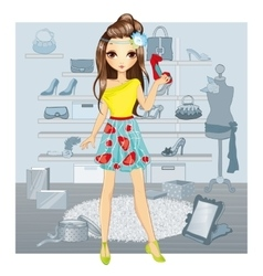Fashion Girl Chooses Shoes vector image